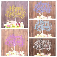 Wholesale blue gold decorations for party online - 5 colors gold blue purple Happy Birthday Party Cake toppers decoration for kids birthday party favors Baby hat Decoration GGA477