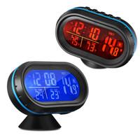 termómetro lcd digital automático al por mayor-Reloj LCD del coche del envío gratis digital con termómetro y voltímetro automotriz 4 en 1 LED retroiluminación de dos colores Estilo del reloj automático