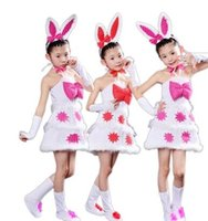 Wholesale Animal Cosplay - 2018 New style children Cosplay Rabbit Animal perform clothing Boys and girls Dance Conjoined clothes