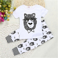 Wholesale Infant Bowtie - INS Baby Boys Clothing Set Babies Bowtie bear Beast Printed T Shirt +Pants Infant Kids Clothing Set Wholesale