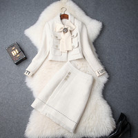 European and American women's 2018 winter clothing new bowknot Long sleeve coat + Fashion skirt Tweed suit