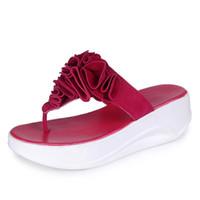 çiçek kelebek pu toptan satış-Moda Güzel Yaz Kadın Rahat Sandal Kelebek Düz Flip-Flop Pinches Kalın Tabanı Terlik Kadın Çiçek Plaj Ayakkabıları