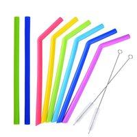 Wholesale food grade silicone hose online - New Colorful Food Grade Silicone Straw Cup Silica Gel Drinking Straw with Brush Environmental Silicone Hose