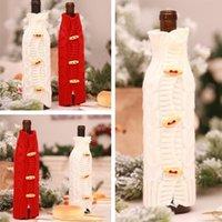 ingrosso decorazioni straniere-Commercio estero Calde decorazioni natalizie Natale Champagne bottiglia di vino rosso manica bar creativo maglieria cappotto in lana T7I270