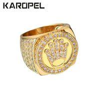königskrone gold großhandel-Karopel Hip Hop Bling Schmuck König Crown Vatertag Geschenk für Männer Bling Bling Micro Pave CZ Gold Farbe Zirkon Ring
