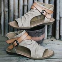 Wholesale womens plus denim - ANGUSH Fashion Sandals Womens 2018 Newest Casual Plus Size Shoes Rome Style Flat Bottom Canvas Sandals Female Shoes Brown Khaki Black Grey