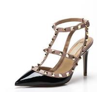 nackte sandale hochhackige schuhe großhandel-2018 Marke Frauen Pumps Hochzeit Schuhe Frau High Heels Sandale Nude Fashion Ankle Straps Nieten Schuhe Sexy High Heels Brautschuhe Größe 34-43
