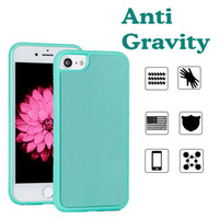Wholesale sticky for iphone - Glitter Flash Anti Gravity Case Selfie Magical Nano TPU+PC Shockproof Slim Sticky Absorb Wall Antigravity Cover For iPhone X 8 7 Plus 6 6S