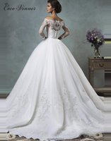 Wholesale dresses removable skirts - C.V Arab Long Sleeve Two in One Detachable Tail Muslim Wedding Dress Lace Bridal Gowns Removable Skirt Plus Size Wedding Dresses W0219