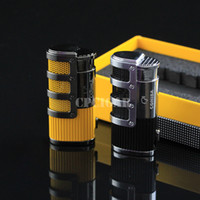 ingrosso accendino per sigari-COHIBA High-end rete armatura sigaro fumare ligther w / built-in sigaro pugno fiamma 3 torcia accendino accendino con scatola regalo