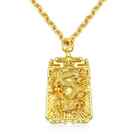 mi moneda монеты оптовых-Золотой цвет мужская мода Даргон кулон ожерелье из нержавеющей стали звено цепи ожерелье ювелирные изделия подарок для мужчин мальчиков 688