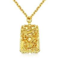jungen halskette anhänger großhandel-Goldfarbe Mode Herren Dargon Anhänger Halskette Edelstahl Gliederkette Halskette Schmuck Geschenk für Männer Jungen 688