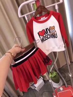 Wholesale baby clothing cartoon - Kids set Spring Autumn Cartoon Clothing Sets Baby Boys Casual Piece set Baby Girls red Long sleeved Pajamas Small bear Clothing Set
