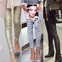 Wholesale Gold Sequin Trousers - Sequin Women Leggings Streetwear 2018 Calca Feminina Punk Bling Trousers Shining Gold Black Silver Spangle Formal Pants
