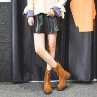 bot önü toptan satış-PHYANIC 2018 Kadın Çizmeler Akın Fermuar Orta Buzağı Ayak Bileği Bayanlar Ayakkabı Yuvarlak Ayak Çizmeler Sonbahar Kış Rahat Platformu Tekneler Femininas