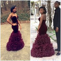 red cascade dress prom NZ - Trendy African Sexy Red blue Black Mermaid Prom Dresses 2018 Floor Length organza Evening Dress Prom Gowns Velvet Prom Dresses