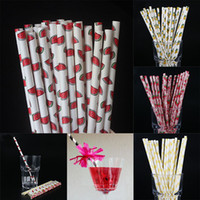 Wholesale paper tea - Disposable Bubble Tea Thick Rainbow Drinking Paper Straws Environment Friendly Kraft Paper Straw For Bar Birthday Wedding Party WX9-695