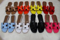 Wholesale bottom cover - New sandal French Women's high-end slippers ladies leather 2018 fashion Sole leather slippers flat-bottomed high-end women's shoes