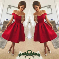 Wholesale white strapless cocktail length dress resale online - 2018 Red Off The Shoulder Satin A Line Short Homecoming Dresses Ruched Knee Length Short Party Cocktail Prom Dresses BA9793
