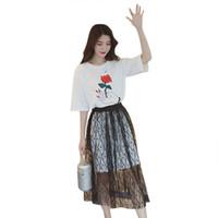 2741484df76 Deux pièces   Set Harajuku été lâche robe de fil de soie à manches courtes  en dentelle pour les femmes fille O cou imprimé Floral T chemises Midi Dress