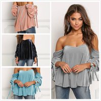 Wholesale plus size maternity clothes online - 4Colors Sexy Women Clothes Girls Summer Velvet Long Sleeved Slash Neck TShirts Sleeve Bow Pullovers Maternity Tops Plus Size Women Clothing