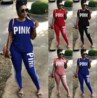 Wholesale Pink Pants Women - PINK Letter Women Sport Suit Sets Tracksuit Pattern Sweatshirt Pants Jogging Sport Suit S-3XL 4 color EEA88