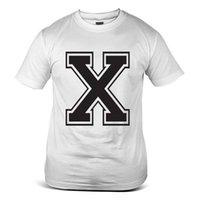 ingrosso camicie da uomo di moda giovanile-7020-WH X Alfabeto Parola Lettera Font Slogan Youth Fashion White Mens T-Shirt