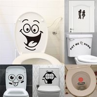 Wholesale Big Black Stickers - big mouth toilet stickers wall decorations diy vinyl adesivos de paredes home decal mual art waterproof posters paper