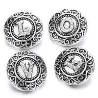 Wholesale Wholesale Metal Jewelry Initials - 10pcs 2018 New Initial A-Z Letters Alphabet Snap Jewelry Crystal 18mm Metal Snap Buttons Fit Snap Bracelet