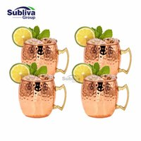 Wholesale Cup Plates - 4 Pcs Free Shipping 550ml Copper Plated Barrel Hammered Moscow Mule Mug Coffee Cup Beer Cup Set Of 4