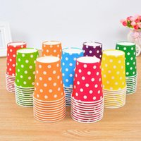 Wholesale polka cups paper - Colorful Polka Dot Paper Cups Disposable Tableware Wedding Birthday Table Decorations