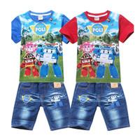 короткие джинсы для детей оптовых-Розничная Новый 2017 Лето Poli ROBOCAR Детская Одежда для Мальчиков, Детские Детские Рубашки Джинсовые Шорты Хлопок Комплекты Одежды