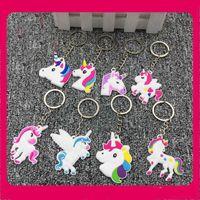 Wholesale pendants designs cute resale online - Cute Funny Pendants Creative Rainbow Horse Pegasus Design Kers Chain Charm Cartoon Soft PVC Unicorn Style Key Buckle New Arrival xh Z