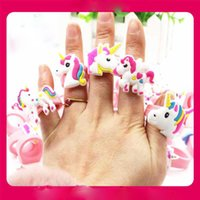 Wholesale Unicorn PVC Rings for Kids Soft Silicone Finger Rings Accessory Jewelry Children Birthday Party Gift
