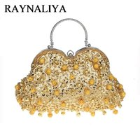 ingrosso borsa da sera nera in rilievo-Golden Flower Women Black Crystal Evening Purse Bridal Beaded Handbag Wedding Party Prom Borsa a tracolla frizione SFX-A0061