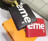 precio caja de monedas al por mayor-Hombres y mujeres cartas de moda PU cartera de almacenamiento abierta corta bolsa de cambio de tarjeta de posición posición billetera negro rojo retro OL billetera