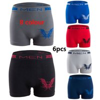 Wholesale cotton boxer shorts seamless - 6PCS New Polyester Cotton Butterfly Pattern Men's Underwear Flat Short Shorts Sexy breathable Mens seamless underwear boxers