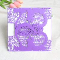 Wholesale groom bride wedding invitation card - Romantic wedding invitations bride groom ceremony shimmer laser cut hollow greeting card customized printing free ship