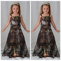 Wholesale flowers girl wedding dress spaghetti straps for sale - Newest Camo Flower Girl Dresses For Western Country Forest Weddings A Line Spaghetti Straps Long Girls Pageant Formal Gowns