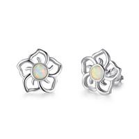 küpeler çin toptan satış-Sıcak satış Yüksek Kalite Güzel 925 Ayar Gümüş Beyaz Yangın Opal Kızlar Çiçek Saplama küpe Popüler takı Çin Kaliteli Jewel