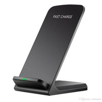 ingrosso caricabatterie-Nero / Bianco 10W Wireless QI Fast Charger Supporto di ricarica per cellulare Smart Cell Phone