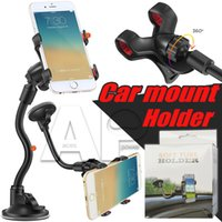 Wholesale cup holder phone online – Clamp Car Mount Long Arm Universal Windshield Dashboard Mobile Phone Holder Degree Rotation Holders with Strong Suction Cup X Clamp