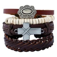 corsage armbänder großhandel-CHAOMO Männer Retro Set Kreuz Corsage Armband Handmade Hot Jewelry Persönlichkeit Kreatives Geschenk