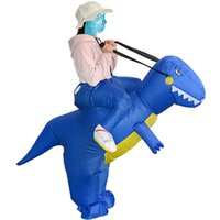 Wholesale outlet costumes - Wholesale Adult Size Outlet men Inflatable Dinosaur Costume Halloween Ride on Dino mascot Costumes Clothing Blue free shipping