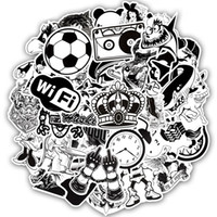 Wholesale toy bombs resale online - 50 Waterproof Black and White Style Stickers Toys for Children Laptop Phone Luggage Skateboard Bedroom DIY Mixed Cartoon Sticker Bomb