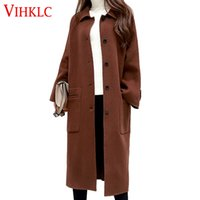 Wholesale Pure Wool Jacket - 2016 Women Winter Wool Jacket New Korean version of the extra-long pure color loose single-breasted wool coat A190