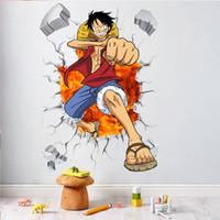 ingrosso parete adesiva di un pezzo-adesivi per bambini Cartoon One Piece Broken Home Decor adesivi murali effetto 3d per camerette anime poster Rufy Posters