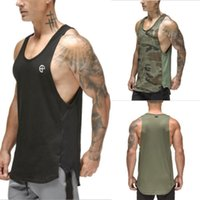 erkek cesedi toptan satış-Yaz erkek Kas Gym Koşu Yelek Tank Top Vücut Eğitim Spor Yelek T Shirt Camou Sıcak Pamuk Hızlı Kuru Spor