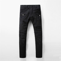 Wholesale pants jeans for men - Balmain New Fashion Mens Designer Brand Black Jeans Skinny Ripped Destroyed Stretch Slim Fit Hop Hop Pants With Holes For Men