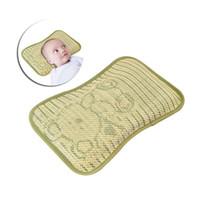 Wholesale buckwheat pillows - Infant Bedding Baby Pillow Newborn Head Protection Pad Sweat Absorption Cartoon Bear Buckwheat Pillow Infant Shaping